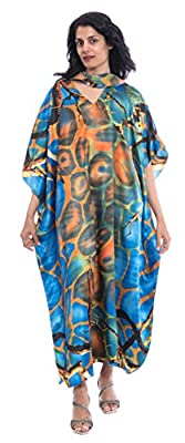 Sante Classics Women's Poly Satin Caftan Dress/Cover-Up + Scarf Mesa One Size