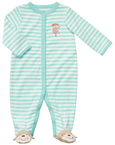 Carter'S Terry Snap - Jade White Stripe Monkey-9M front-1034489