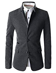(LPJ03) TheLees Mens Slim Fit China Collar Leather Patched 2 Button Blazer CHARCOAL US S(Tag size XL)