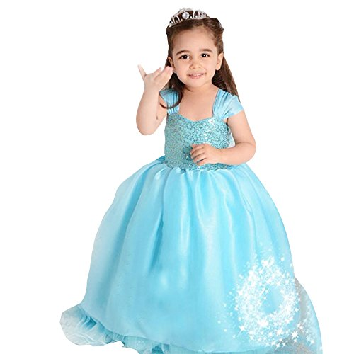 Children Frozen Princess Anna Elsa Queen Girls Cosplay Costume Party Blue Dress