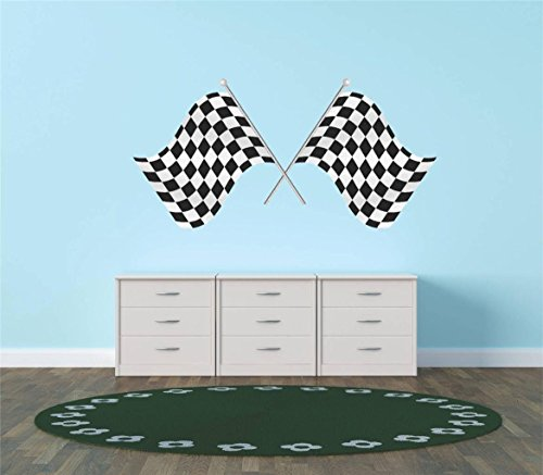 Design with Vinyl Hope 79-210 Decor Item Decal Vinyl Wall Sticker 1St Place Checkered Flag Race Car Speedway Track Boy Girl Children Kid, 12-Inch x 24-Inch, Black