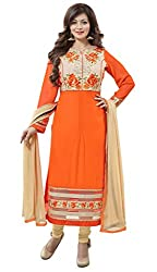 Manthan Orange Embroidered Un-Stitched Chudidar Suit