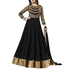 Shraddha Fashion Hub Women's Georgette Unstitched Dress Material (FS1820_Black)