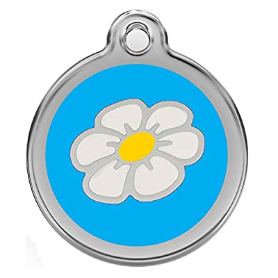 Stainless Steel with Enamel | Dog Tags Pet Tags Cat Tags | Designers Round Daisy Flower | by CNATTAGS® (LIFE TIME WARRANTY)