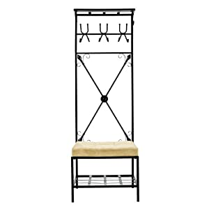 Amazon.com: SEI Black Metal Entryway Storage Bench with Coat Rack ...
