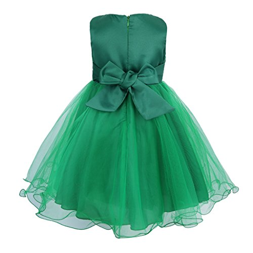 Colorful House Girls' Sequined Formal Wedding Bridesmaid Party Dress, Green Size 4 for US 3T (3 Years)