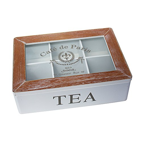 French Tea Box Storage 6 Six Compartments Wooden Distressed Vintage Style
