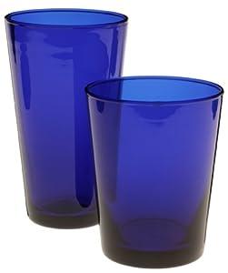 Libbey 16-Piece Colbalt Flare Glassware Set