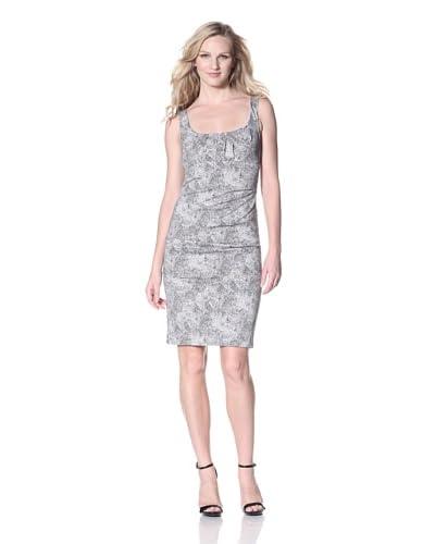 Nicole Miller Women's Spotted Leopard Tucked Sheath Dress  - White/Black