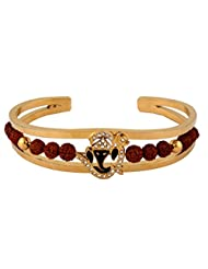 The Jewelbox Rudraksh American Diamond Gold Meena Ganesh Men Cuff Kada Bracelet
