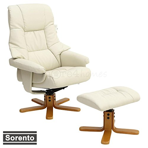 SORENTO LEATHER SWIVEL RECLINER CHAIR ARMCHAIR with FOOT STOOL (Cream)