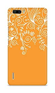 AMEZ designer printed 3d premium high quality back case cover for Huawei Honor 6 Plus (orange white design pattern abstract)