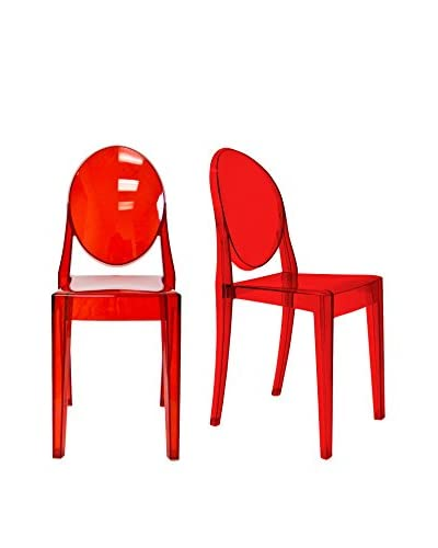 Aeon Set of 2 Specter Side Chairs, Translucent Red