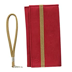 Jo Jo A5 Nilofer Leather Wallet Universal Pouch Cover Case For Lenovo A3900 Red Beige