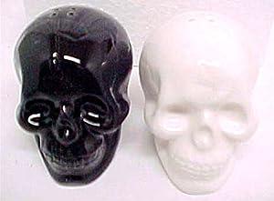 Black & White Ceramic Skull Salt & Pepper Shakers by Private Label