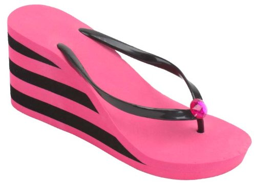 New Starbay Brand Women'S High Wedge Pink Wedge Sandal Flip Flops With Pink And Black Stripes Size 7 front-147332
