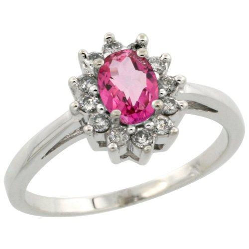 14k White Gold ( 6x4 mm ) Halo Engagement Pink Topaz Ring w/ 0.212 Carat Brilliant Cut Diamonds & 0.55 Carat Oval Cut Stone, 7/16 in. (11mm) wide, size 5