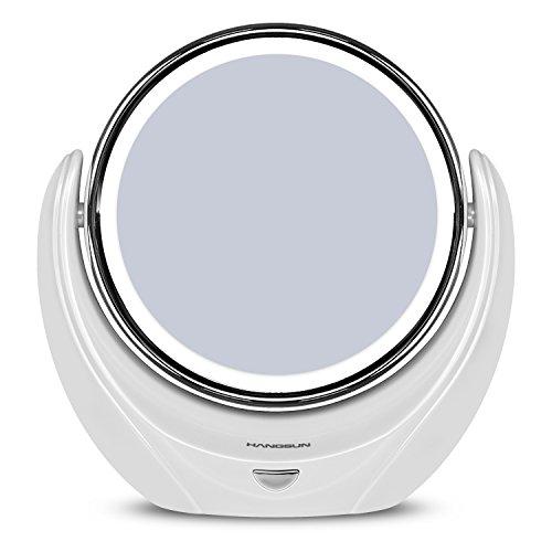 hangsun led espejo iluminado espejos de bao doble cara espejo cosmtica aumento maquillaje luz plana x blanco batera incluida