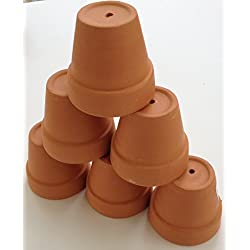 Mini Terra Cotta Clay Pots -- Set of 6 -- for Plants, Crafts