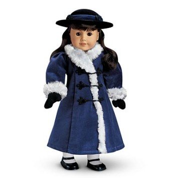 American Girl Samantha's Blue Velvet Holiday Coat, Hat and mittens for 18