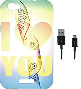 BKDT Marketing Printed Soft Back Cover Combo for Micromax Canvas Nitro 2 E311 With Charging Cable