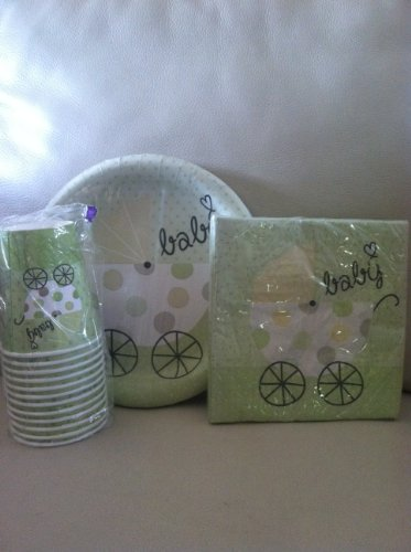 Unisex Baby Carriage Party Pack Plates, Cups and Napkins - 1