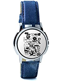 BigOwl Is It A Car Or A Cat Painting Analog Men's Wrist Watch 2114884526-RS1-W-BLU