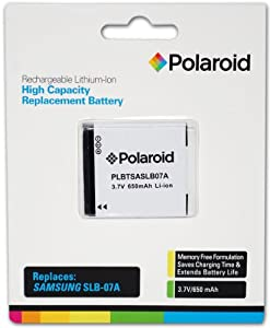 Polaroid High Capacity Samsung SLB-07A Rechargeable Lithium Replacement Battery (Compatible With: ST600, TL90, TL210, ST500, ST550, )