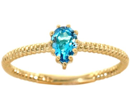 14K Yellow Gold Pear Gemstone Solitaire Stackable Ring-Swiss Blue Topaz, size5.5