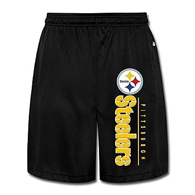 Duola Men's Short Running Pants Pittsburgh Steeler Logo Black