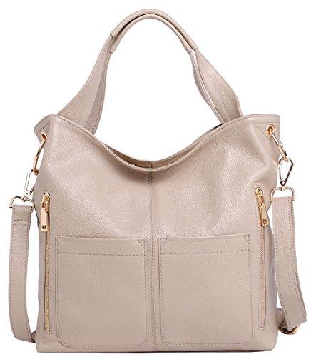 Heshe Hot Sell Women'S Soft Genuine Leather Collection Shoulder Bag Cross Body Satchel Tote Hobo Purse Messenger Handbag (Grey)