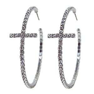Heirloom Finds Sparkly Elegant Crystal Cross Hoop Earrings in Silver Tone