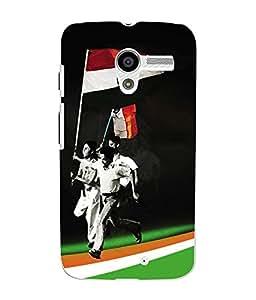 Fuson 3D Printed India Flag Designer Back Case Cover for Motorola Moto X - D606
