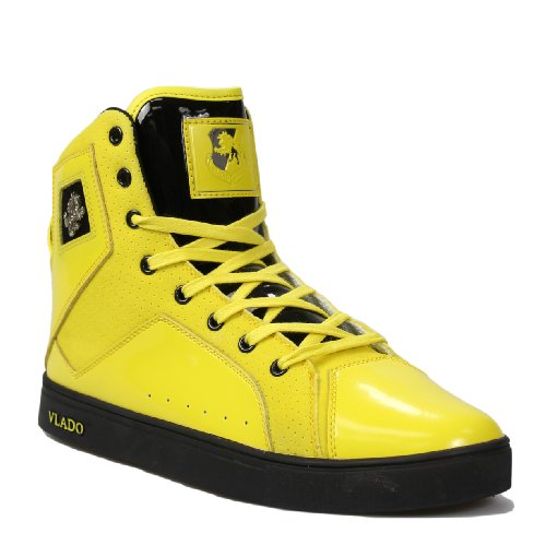 Vlado Footwear Men's Gladiator Yellow/Black Leather and Suede Sneakers 6.5M