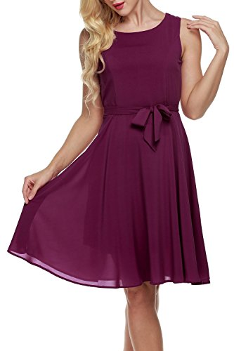 OURS Women's Summer Sleeveless Chiffon Pleated Cocktail Party Dress With Belt (S, Purple Red)