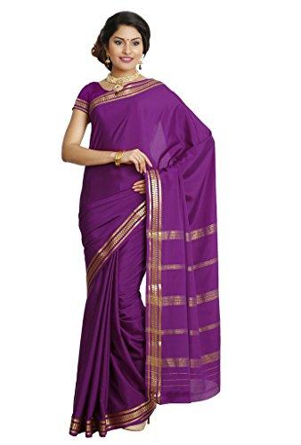 Kaushika Sarees Pure Crepe Traditional Mysore Silk Magenta Saree