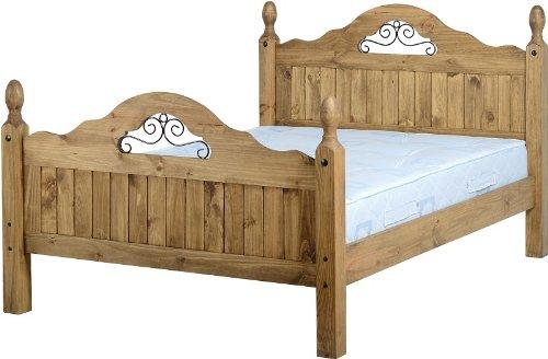 Home Comfort, Seconique - Struttura letto in legno di pino con spalliere decorate, 1402 cm