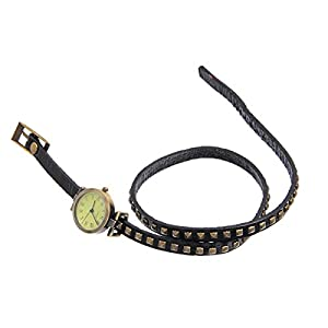 8Years(R) New Vintage Style Bronze Quartz Cool Leather Rivet Bracelet Lady Woman Wrist Watch (Black)