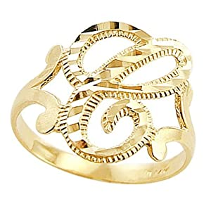 Letter Ring C Initial Band 14k Yellow Gold Cursive Alphabet, Size 8