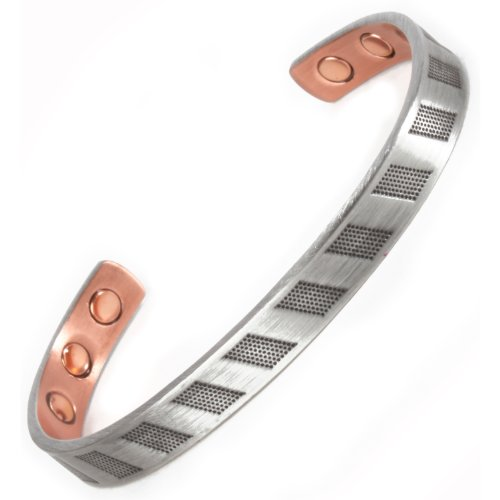 Copper & Silver Magnetic Bangle Bracelet - 6 High Strength Magnets - 2 Size Options