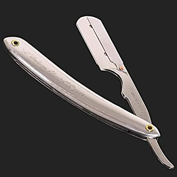 Vintage Straight Razor For Men - Shave Like A Man With A Stainless Steel Straight Edge Razor - Reduce Ingrown Hairs Razor Bumps And Burns - Includes 5 Shark Super Stainless Blades
