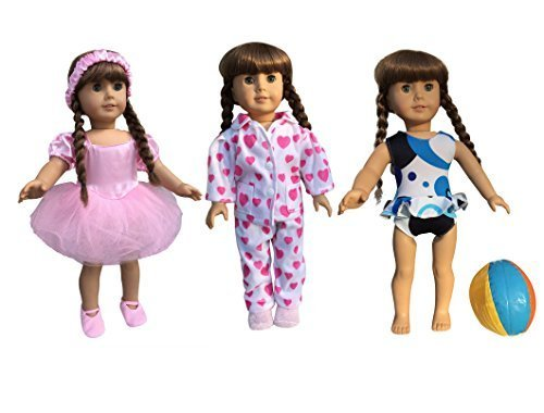 in-style-american-girl-doll-dolls-clothes-ballet-ballerina-dance-swimsuit-pajamas-3-outfits-fits-18-