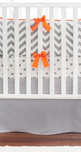 New Arrivals Crib Bed Set, Zig Zag in Slate with Orange Trim