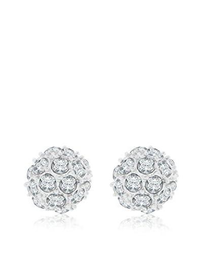 Diamond Style Pendientes Ball Studs Plateado