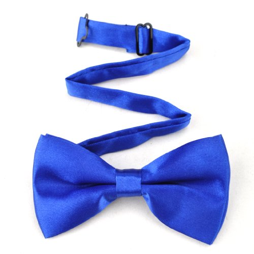 Toptie Mens Formal Solid Royal Blue Satin Bow Tie