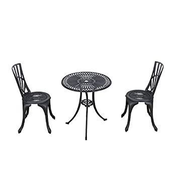 Outsunny 3 Piece Antique Style Outdoor Patio Bistro Dining Set - Black