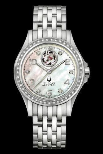 Accutron Kirkwood Mother of Pearl Diamond Dial Stainless Steel Ladies Watch 63R117