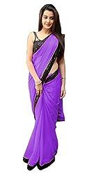 Women's Exclusive Purple Georgette Plain Sari with Blouse