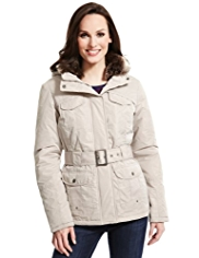 M&S Collection Self Striped Belted Jacket with Stormwear™