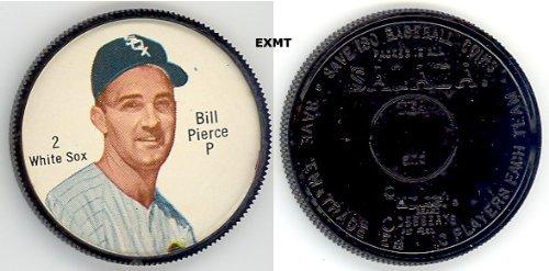 1962 Salada Tea Coins (Baseball) Card# 2 Bill Pierce (180 Back) Of The Chicago White Sox Ex Condition
